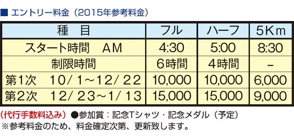 エントリー料金(2015年参考料金)
