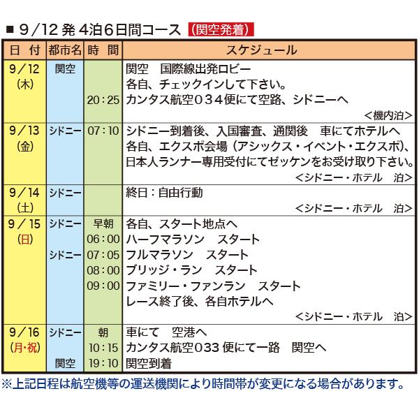 9/12発4泊6日間コース(関空発着)