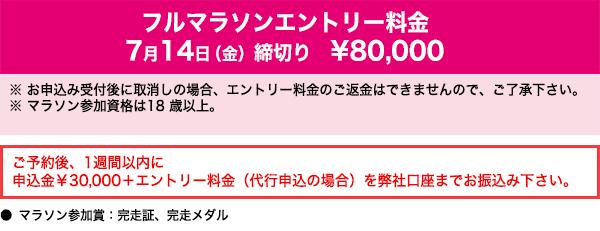 フルマラソンエントリー料金:7月14日(金)締切り80,000円